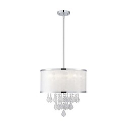 Canarm Reese, Ich435A04Ch9, 4 Lt Rod Chandelier, Sparkle Film Shade With Crystals,40W G