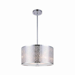 Canarm Montreal, Ich527A03Ch, 3 Lt Rod Chandelier, Stainless Steel Shade + Sparkly Pape
