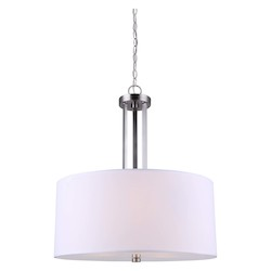 Canarm River, Ich578A03Bn18, 3 Lt Chain Chandelier, White Fabric Shade + Frost Diffuser