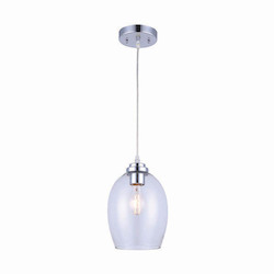 Canarm Nelson, Ipl284B01Ch, 1 Lt Cord Pendant, Clear Glass, 100W Type A, 6 3/4In. X 6