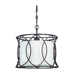 Canarm Monica, Ipl320A01Orb14, 1 Lt Pendant, White Fabric Shade, 100 W Type A, 13 1/2&#