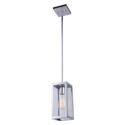 Canarm Langley, Ipl530A01Ch, 1 Lt Rod Pendant, Clear Glass, 100W Type A, 4 3/4In. X 1