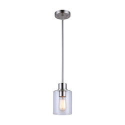 Canarm Portland, Ipl531A01Bn, 1 Lt Pendant, Seeded Glass, 100W Type A, 4 3/4In. X 11