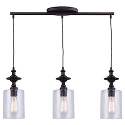 Canarm York, Ipl586A03Orb, 3 Lt Cord Pendant, Clear Glass, 100W Type A, 27 1/4In. X 1