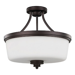 Jackson, Isf286A03 Orb, 3 Lt Semi-Flush Mount, Flat Opal Glass, 100W Type A19, 1
