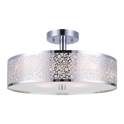 Canarm Montreal, Isf527A03Ch, 3 Lt Semi-Flush, Stainless Steel Shade + Sparkly Paper +