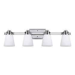 Canarm Chatham, Ivl220A04 Ch, 4 Light Vanity, Flat Opal Glass, 100W Type A, 30 1/2In.