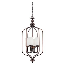 Rubbed Bronze Contemporary 4 Light Pendant