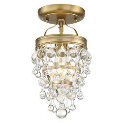 Crystorama 131-VG_CEILING 1 Light Polished Vibrant Gold Transitional Mini Chandelier Draped In Clear Glass