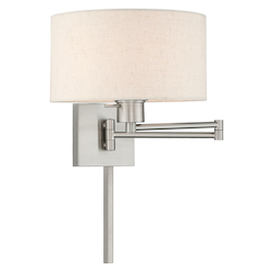 Livex Lighting 40037-91 11 Inch 1 Light Swing Arm Wall Lamp With Oatmeal Fabric Hardback Shade