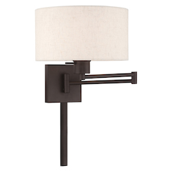 Livex Lighting 40037-07 11 Inch 1 Light Swing Arm Wall Lamp With Oatmeal Fabric Hardback Shade