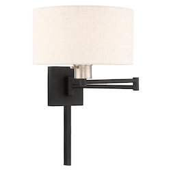 Livex Lighting 40037-04 11 Inch 1 Light Swing Arm Wall Lamp With Oatmeal Fabric Hardback Shade