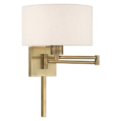 Livex Lighting 40037-01 11 Inch 1 Light Swing Arm Wall Lamp With Oatmeal Fabric Hardback Shade