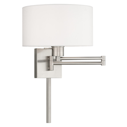 Livex Lighting 40036-91 11 Inch 1 Light Swing Arm Wall Lamp With Off-White Fabric Hardback Shade