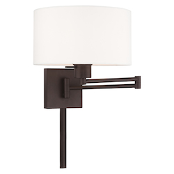 Livex Lighting 40036-07 11 Inch 1 Light Swing Arm Wall Lamp With Off-White Fabric Hardback Shade