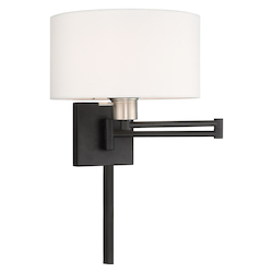 Livex Lighting 40036-04 11 Inch 1 Light Swing Arm Wall Lamp With Off-White Fabric Hardback Shade