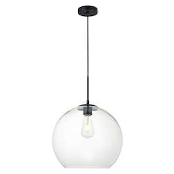 Living District LD2216BK Baxter 13.4 Inch 1-Light Pendant With Clear Glass