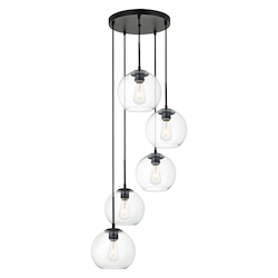 Living District LD2226BK Baxter 18 Inch 5-Light Pendant With Clear Glass