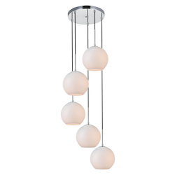 Living District LD2227C Baxter 18 Inch 5-Light Pendant With Frosted White Glass