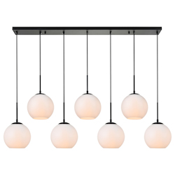 Living District LD2231BK Baxter 7-Light Pendant With Frosted White Glass