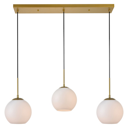 Living District LD2237BR Baxter 36 Inch 3-Light Pendant With Frosted White Glass