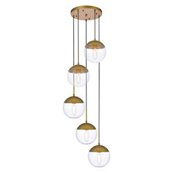 Living District LD6079BR Eclipse 18 Inch 5-Light Pendant