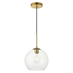 Living District LD2212BR Baxter 9.9 Inch 1-Light Pendant With Clear Glass