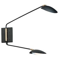 Maxim 21692BKSBR Scan Led 2-Light Pin-Up Wall Sconce