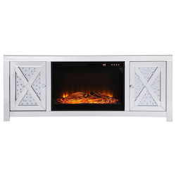 Elegant Decor MF9904-F1 59 In. Crystal Mirrored Tv Stand With Wood Log Insert Fireplace