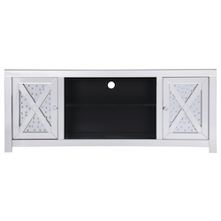 Elegant Decor MF9904 59 In. Crystal Mirrored Tv Stand