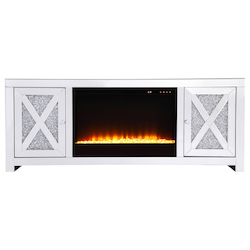 Elegant Decor MF9903-F2 59 In.Crystal Mirrored Tv Stand With Crystal Insert Fireplace
