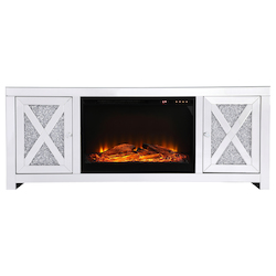 Elegant Decor MF9903-F1 59 In. Crystal Mirrored Tv Stand With Wood Log Insert Fireplace