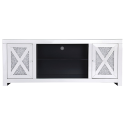 Elegant Decor MF9903 59 In. Crystal Mirrored Tv Stand