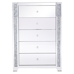 Elegant Decor MF92054 34 In. Silver Crystal Mirrored Five Drawer Cabinet