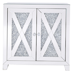 Elegant Decor MF92052 28 In Silver Crystal Mirrored Two Door Cabinet