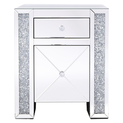 Elegant Decor MF92050 21.5 In Silver Crystal Mirrored One Drawer Cabinet