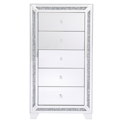Elegant Decor MF92046 25.5 In. Crystal Mirrored 5 Drawer Cabinet
