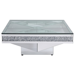 Elegant Decor MF92043 39 In. Crystal Mirrored Coffee Table