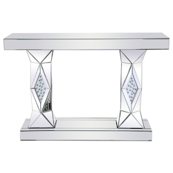 Elegant Decor MF92019 47 Inch Rectangle Crystal Console Table Clear Royal Cut Crystal