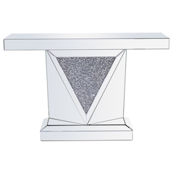 Elegant Decor MF92009 47 Inch Rectangle Crystal Console Table Silver Royal Cut Crystal