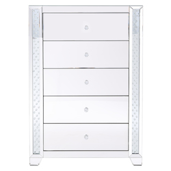 Elegant Decor MF91053 34 In. Clear Crystal Mirrored Five Drawer Cabinet