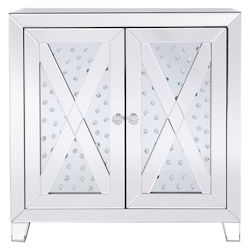 Elegant Decor MF91051 28 In Clear Crystal Mirrored Two Door Cabinet