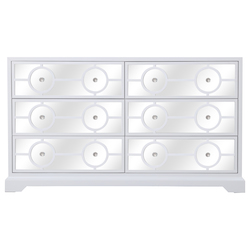 Elegant Decor MF81036WH 60 In. Mirrored Six Drawer Cabinet In White