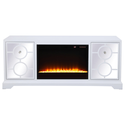 Elegant Decor MF801WH-F2 60 In. Mirrored Tv Stand With Crystal Fireplace Insert In White