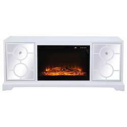 Elegant Decor MF801WH-F1 60 In. Mirrored Tv Stand With Wood Fireplace Insert In White