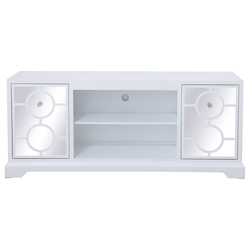 Elegant Decor MF801WH 60 In. Mirrored Tv Stand In White