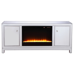 Elegant Decor MF701S-F2 60 In. Mirrored Tv Stand With Crystal Fireplace Insert In Antique Silver