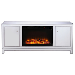 Elegant Decor MF701S-F1 60 In. Mirrored Tv Stand With Wood Fireplace Insert In Antique Silver