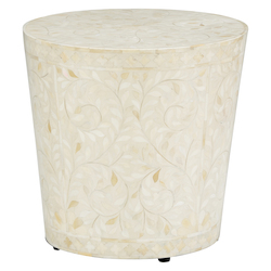 Drum Side Table - White