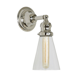 One Light Union Square Wall Sconce Polished Nickel Finish 4.75